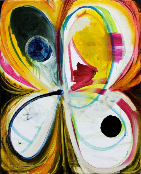 Hansjoerg Dobliar,  Distorted Flower, 2013 Acrylic, oil, lacquer on canvas 80 x 65 cm