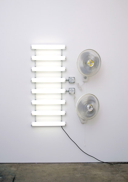 Matthew McCaslin, Zebra, 2006 Fluorescent light fixtures, fluorescent light bulbs, wall mounted fans, electrical hardware, 56 x 45 x 16 in