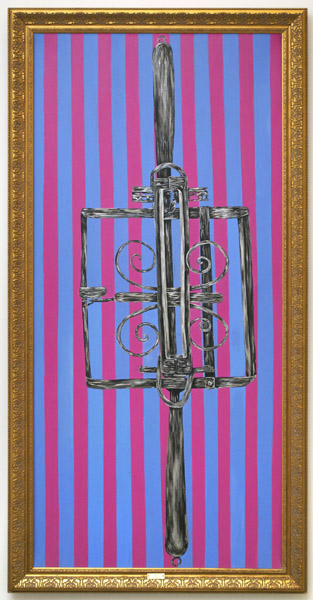 Kathe Burkhart,  Fox 1975 (Mantrap), 1994 Acrylic on canvas, framed with engraved brass plaque,  78 x 36 in