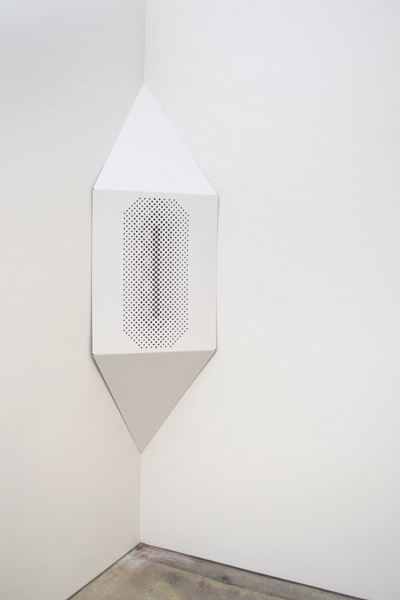 Alan Ruiz,  Singular Plural, 2013 Powder, coated aluminum, and mirror,  78 x 24 in