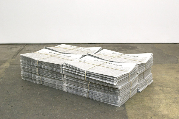 Kevin Simón Mancera,  January 16, 2014 Newsprint, Stack of 600 copies,  Edition of 4,  Dimensions variable