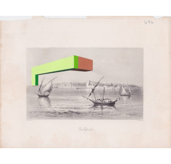 Jaime Tarazona,  Gallipolio, 2013 Vintage etching, acrylic,  8.25 x 10.75 inches (20.96 x 27.31 cm)