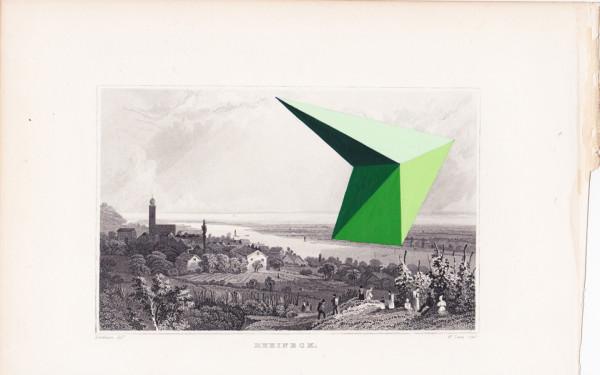Jaime Tarazona,  Rheineck, 2013 Vintage etching, acrylic,  6 x 9.5 inches (15.24 x 24.13 cm)