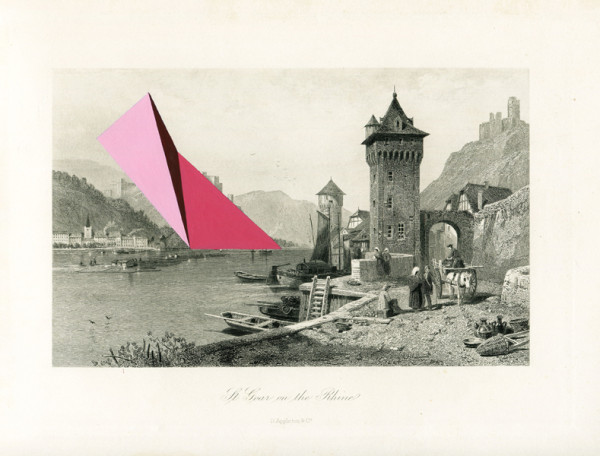 Jaime Tarazona,  St. Goar on the Rhine, 2013 Vintage etching, acrylic,  9.25 x 12.5 inches (23.50 x 31.75 cm)