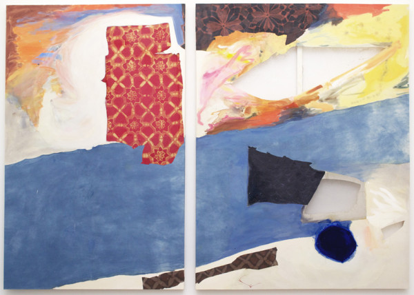 Lauren Luloff,  Brighton, 2014 Oil, bleached bed sheets and fabric on muslin,  83 x 119 inches (210.82 x 302.26 cm)