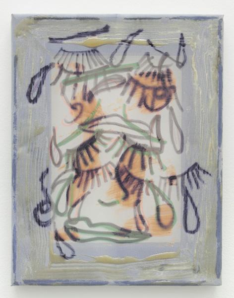 Luis Miguel Bendaña, Untitled, 2014 Enamel, liquid latex, marker on chiffon, 10 x 8 inches (25.40 x 20.32 cm)