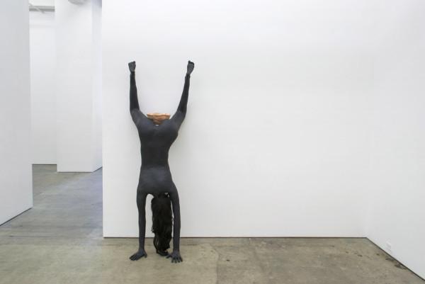 Elizabeth Jaeger, Georgia, 2014 Ceramic, plaster, latex, synthetic hair, gardenia, 79 x 22 x 20 inches (200.66 x 55.88 x 50.80 cm)