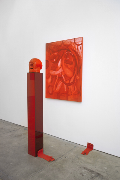 Brian Kokoska, American Rose (Red Hair Truth or Dare), 2014 Oil on canvas, clay, acrylic, kanekalon, felt, plexiglass, rubber gloves, Sculpture: 64 x 7.25 x 7.25 inches (162.56 x 18.42 x 18.42 cm), Painting: 48 x 36 inches (121.92 x 91.44 cm)