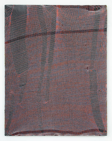 Luis Miguel Bendaña, Untitled, 2014Acrylic, machine knit cotton on linen, 28 x 22 inches (71.12 x 55.88 cm)