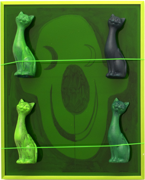 Brian Kokoska, Emerald Moon, 2014 Acrylic on paper, plexiglass, aluminum, ceramic cats, plastic lacing, glue, 20.5 x 16.5 x 3 inches (52 x 42 x 7.5 cm)