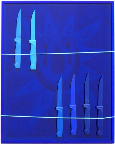Brian Kokoska, Father Time (Endgame), 2014 acrylic on paper, plexiglass, aluminum, knives, plastic lacing, glue, 20.5 x 16.5 x 1.25 inches (52 x 42 x 3 cm)