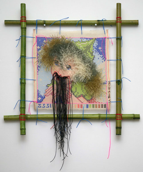 Cyril Duval, Untitled (The Princess Diaries), 2014  Silkscreened canvas, cross-stitched colored rubber strings, tensioned bamboo frame, stickers, 42 x 30in (107 x 76cm)