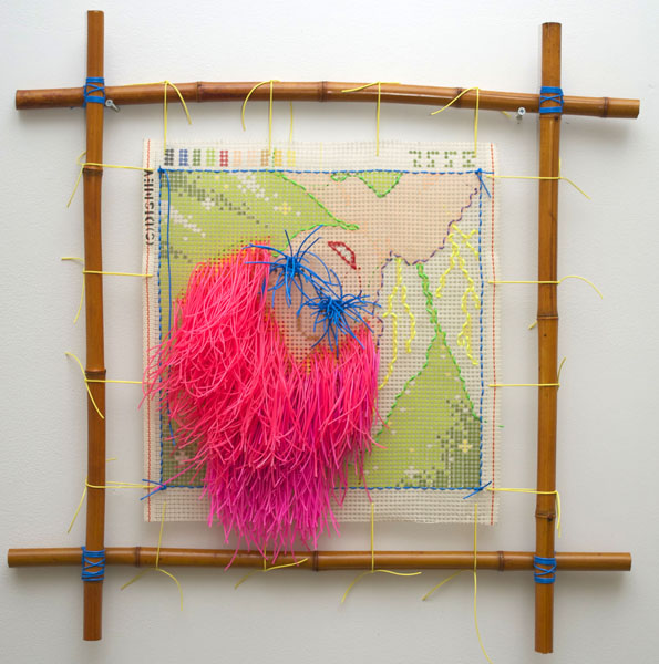 Cyril Duval, Untitled (The Princess Diaries), 2014 Silkscreens canvas, cross-stitched colored rubber rings, tensioned bamboo frame, stickers, 43 x 31in (109 x 79cm)