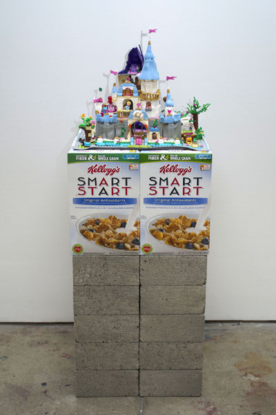 Cyril Duval, Untitled (The Princess Diaries), 2014  Concrete, cinder block, melted LEGO set, cardboard cereal boxes, 44 x 16 x 18in (111 x 40 x 45cm)