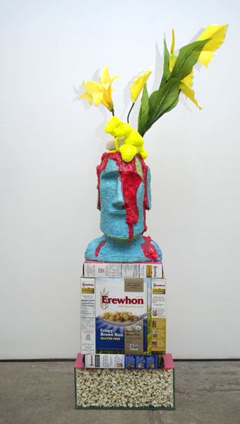 Cyril Duval, Portrait of Mussolini as Prometheus, 2014 Planter, bubblegum, latex, foam, silk flowers, cereal boxes, acrylic, glass container, popcorn, 10 x 22 x 55in (25 x 56 x 140cm)
