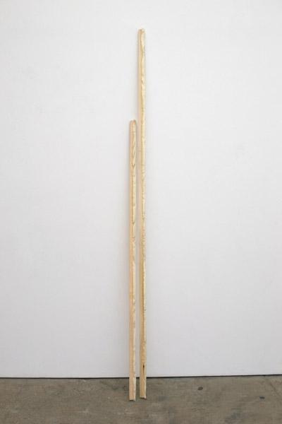 Jessica Sanders, Wax Edge Wood, 2014Poplar wood, beeswax, Large 96 x 4 x 2 inches (243.84 x 10.16 x 5.08 cm), Small 62 x 2 x 1 inches (157.48 x 5.08 x 2.54 cm)