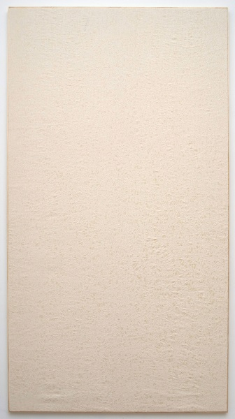 Jessica Sanders, Crumple A55, 2014 Beeswax on stretched linen with artist frame, 96.5 x 51.5 inches (245.11 x 130.81 cm)