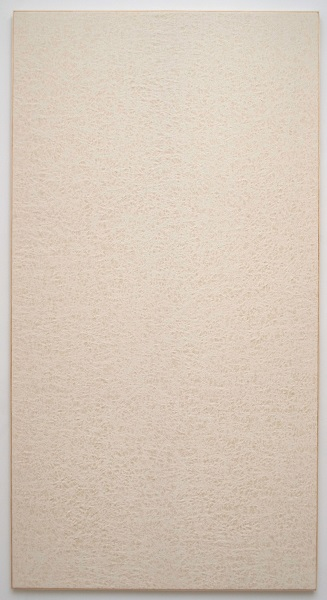 Jessica Sanders, Crumple A56, 2014 Beeswax on stretched linen with artist frame, 96.5 x 51.5 inches (245.11 x 130.81 cm)