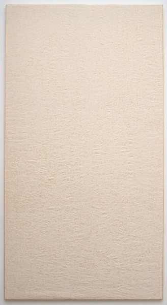 Jessica Sanders, Crumple A57, 2014 Beeswax on stretched linen with artist frame, 96.5 x 51.5 inches (245.11 x 130.81 cm)
