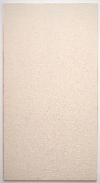 Jessica Sanders, Crumple A58, 2014 Beeswax on stretched linen with artist frame, 96.5 x 51.5 inches (245.11 x 130.81 cm)