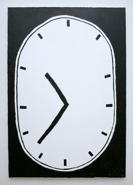 Luc Fuller, Untitled (Clock Painting after Jim Dine), 2015  Acrylic on canvas, chopping block, axe Painting: 44 x 64 inches (111.76 x 162.56 cm),  Chopping block and axe: Dimensions variable