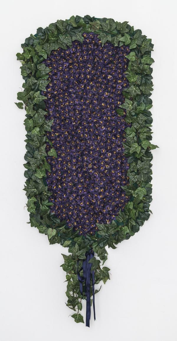 Larissa Lockshin, Prize (II), 2015 Silk flowers, thread, felt, canvas, hardware and ribbon, 84 x 36 inches (213.36 x 91.44 cm)