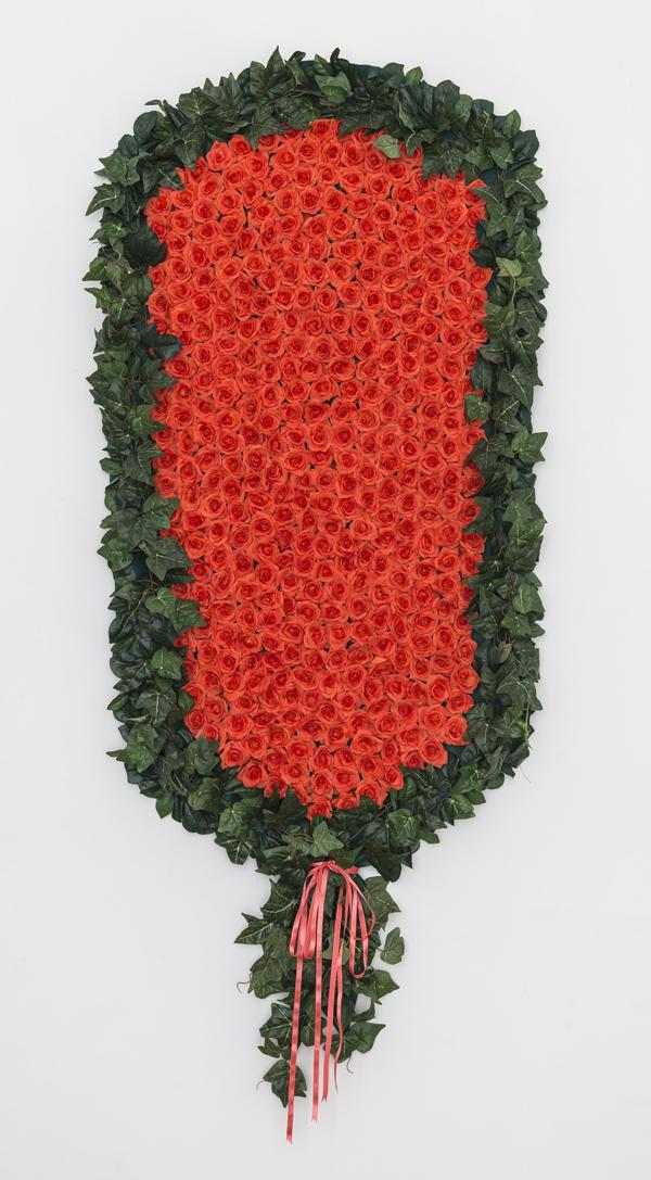 Larissa Lockshin, Prize (III), 2015Silk flowers, thread, felt, canvas, hardware and ribbon, 84 x 36 inches (213.36 x 91.44 cm)