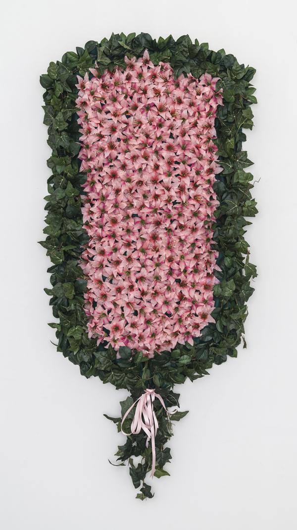 Larissa Lockshin, Prize (IV), 2015 Silk flowers, thread, felt, canvas, hardware and ribbon, 84 x 36 inches (213.36 x 91.44 cm)
