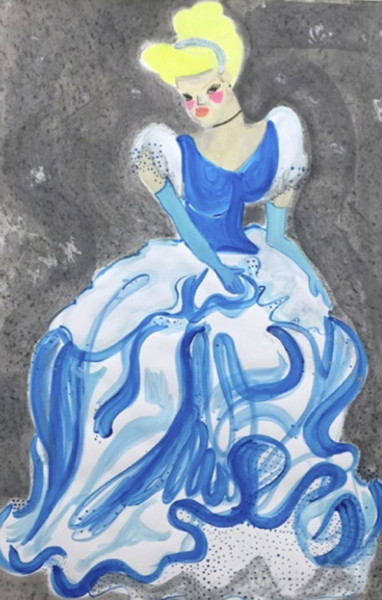 Chelsea Culp, Cinderelli, 2014 Guache, graphite, acrylic, glitter on paper, 40 x 26 inches (101.60 x 66.04 cm)