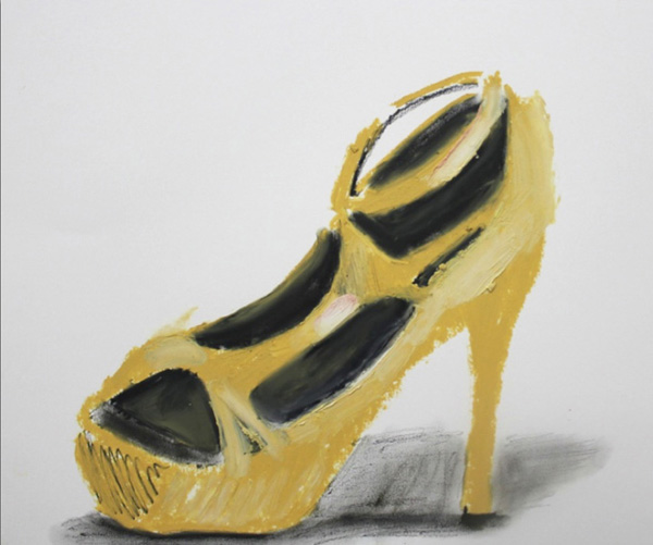 Chelsea Culp, Untitled (Yellow Shoe), 2014 Oil stick, graphite on paper, 14.25 x 17.25 inches (36.20 x 43.82 cm)