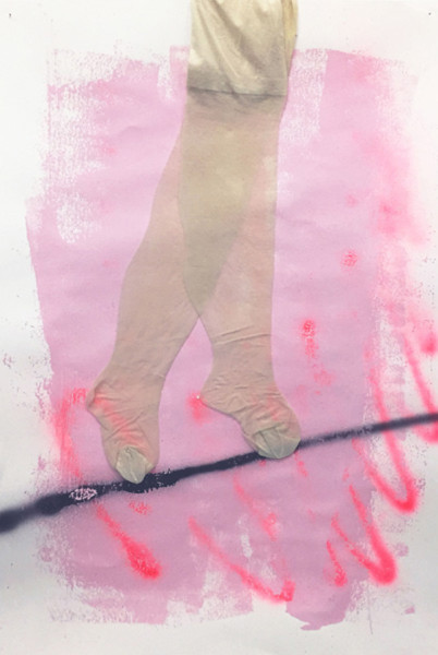 Chelsea Culp, Untitled (pink dream), 2010  Oil, acrylic, spray paint, stockings on canvas, 32.25 x 23 inches (81.92 x 58.42 cm)