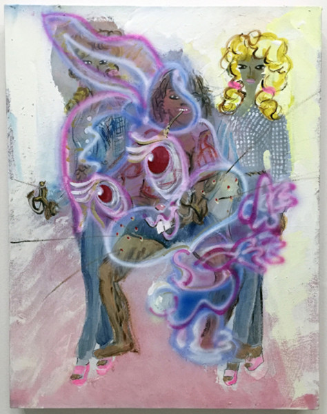 Chelsea Culp, Untitled (Hillbilly Barbies with Bunny), 2015 Oil, acrylic, sumi ink on canvas, 22 x 17 inches (55.88 x 43.18 cm)