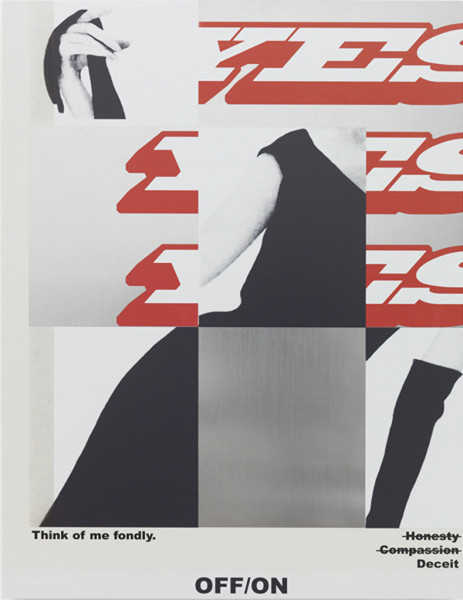Alex Ito, Off/On (Tell Me What To Do), 2015  UV digital printed aluminum, 24 x 18 inches (60.96 x 45.72 cm)