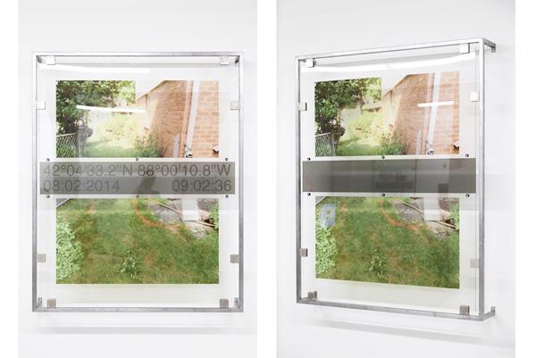 Derek Frech, Becca: Arlington Heights, Illinois, 2015 Steel, rubber, UV cured print on acrylic, 64 x 52 x 8 inches (162.56 x 132.08 x 20.32 cm)