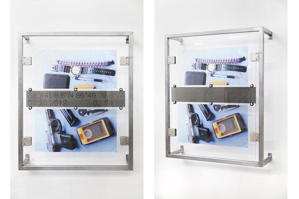 Derek Frech, Wesley: Bainbridge, Indiana, 2015 Steel, rubber, UV cured print on acrylic, 33.5 x 27.5 x 8 inches (85.09 x 69.85 x 20.32 cm)