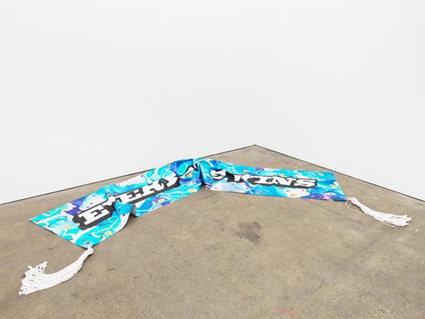 Alex Ito, Everyone Wins!, 2015 Digital print on vinyl, nylon rope, brass, Dimensions Variable