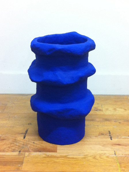 Amber Renaye, Cobalt vessel, 2015Plaster wrap and cellu-clay with acrylic paint, 19 x 12 inches (48.26 x 30.48 cm)