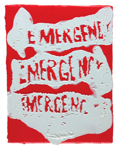 Timothy Bergstrom, Three on red (emergency), 2015 Acrylic on canvas, 13 x 11 inches (33.02 x 27.94 cm)