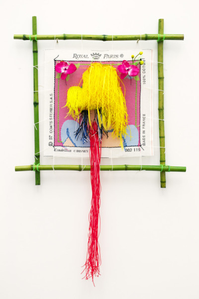 Cyril Duval, Untitled (The Princess Diaries), 2014Silkscreened canvas, cross-stitched colored rubber strings, fake flowers, tensioned bamboo frame  45 x 30.5 inches (114 x 77.5 cm)