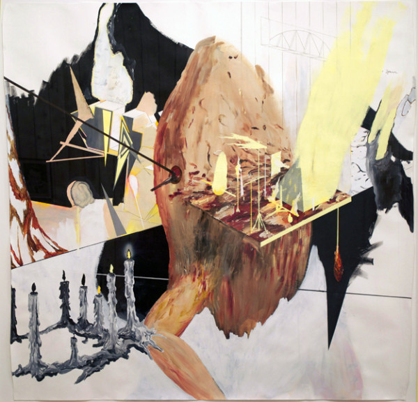 Bo Christian Larsson,  Spawn, 2011 Acrylic, pencil, and airbrush on paper,  59 x 59.875 inches
