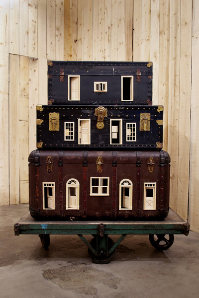 Bo Christian Larsson,Mobile Home, 2012 Vintage suitcases, dollhouse doors and windows, and industrial wagon
