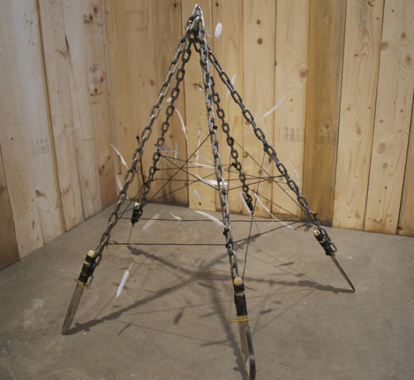Bo Christian Larsson,  Like the Astrodome or the First Tepee, 2012 Steel chain, leather, bowie knives, and goose feather