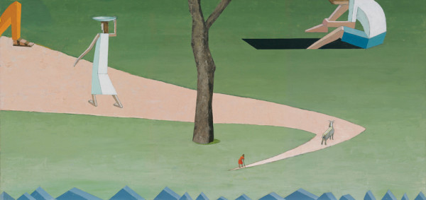 Mernet Larsen, Landscape with a Dirt Road (from poussin), 2011 Acrylic and mixed media on canvas, 26 x 54 inches (66 x 137 cm)