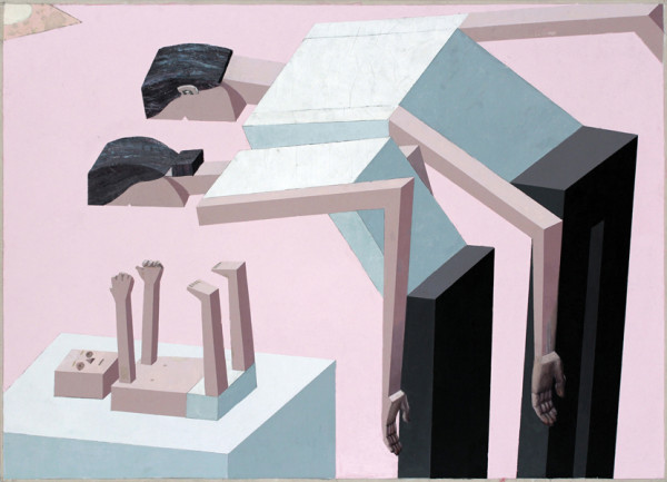 Mernet Larsen, Aw, 2003 Acrylic and tracing paper on canvas, 40 x 66 inches (101.60 x 167.64 cm)
