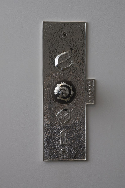 Travis Boyer, Jaguar door knob 2, 2012Sterling Silver and wood, 16 x 5 inches (40.64 x 12.70 cm)