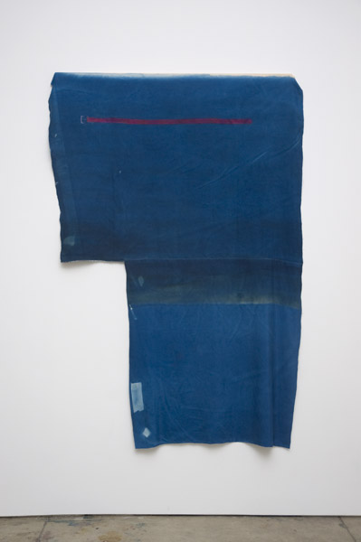 Travis Boyer, One person 3some, 2012Cyanotype, acrylic and dye on silk, 80 x 53 inches (203.20 x 134.62 cm)