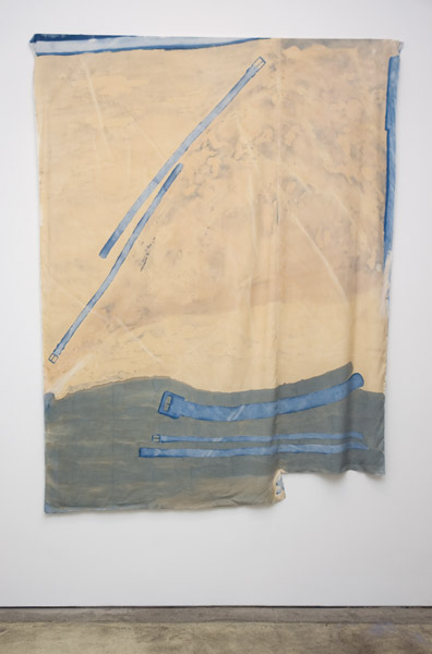 Travis Boyer, Woman wears pants for the first time, 2012Cyanotype, acrylic and dye on silk, 83 x 64 inches (210.82 x 162.56 cm)