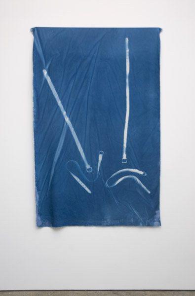 Travis Boyer, Uh oh, competition, 2012Cyanotype, acrylic and dye on silk, 42 x 60 inches (106.68 x 152.40 cm)