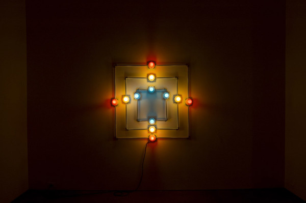 G.T. Pellizzi, Pyramid # 1 2012 Light bulbs, galvinized steel, convolute porcelain and wire,  48 x 48 inches (121.92 x 121.92 cm)