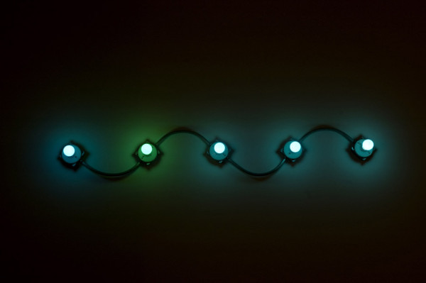 G.T. Pellizzi,  Conduit in Green and Blue (9) 2011 Light bulbs, galvinized steel, convolute porcelain and wire,  48 x 48 inches (121.92 x 121.92 cm)